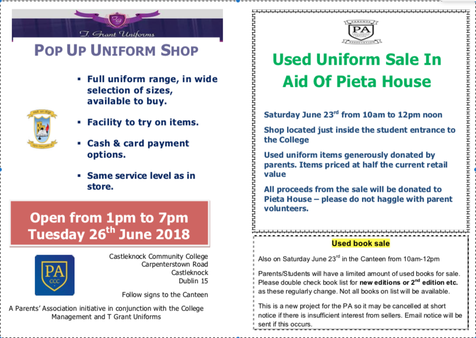 Uniform Sale in aid of Pieta House
