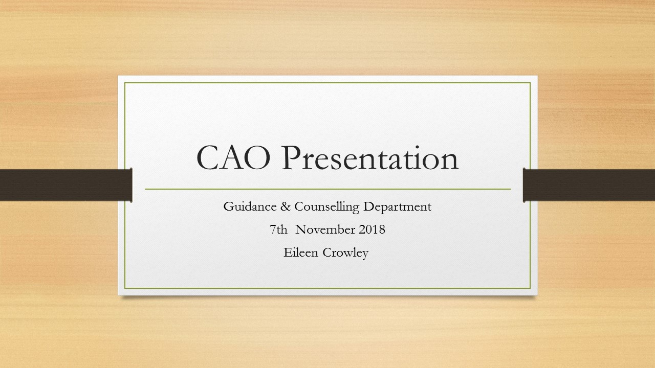 CAO Information Evening 2018