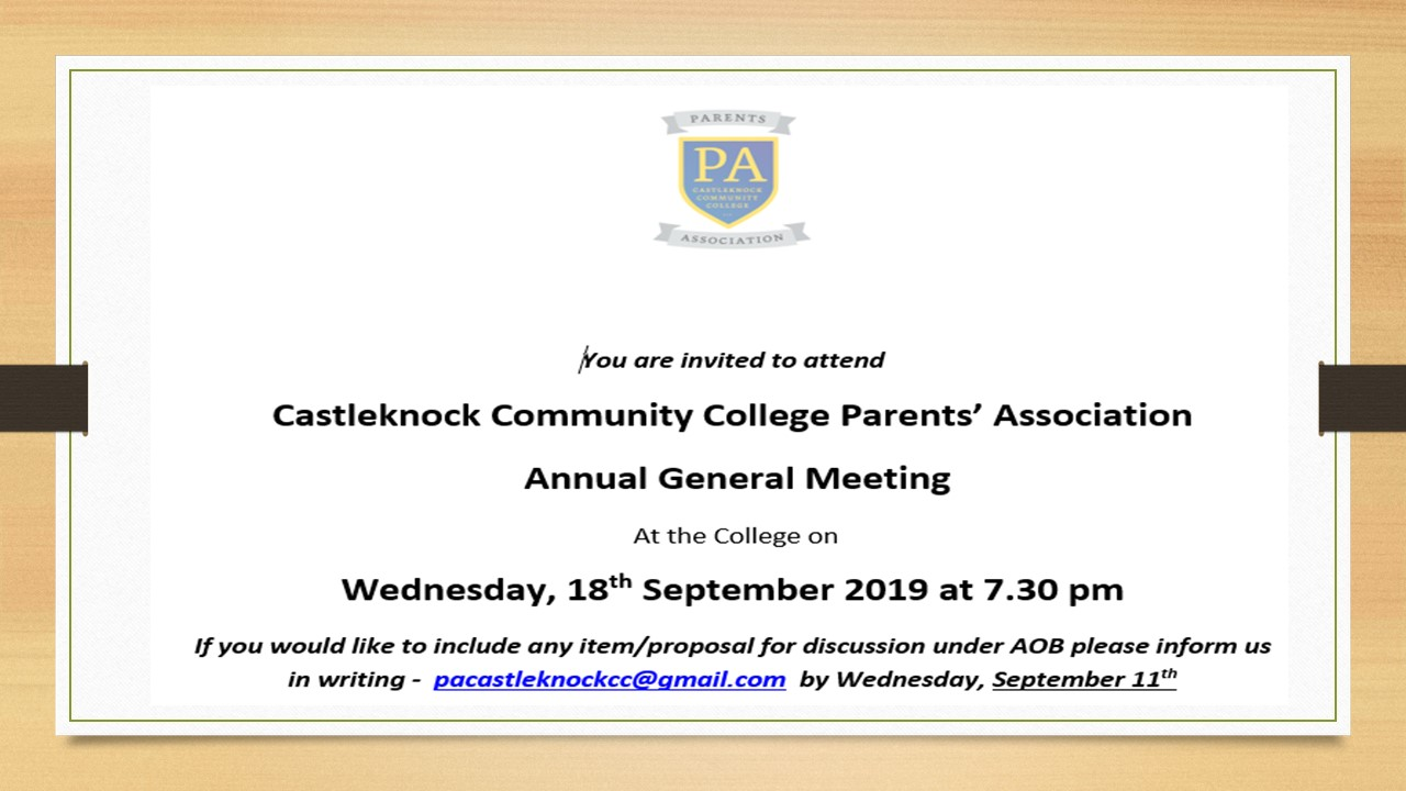 Parents' Association AGM 2019
